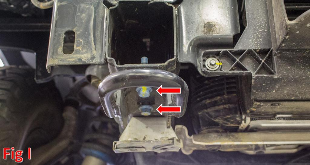 9. Remove the tow hooks by removing the two 15mm bolts that hold each of them on. (Fig I) 10.