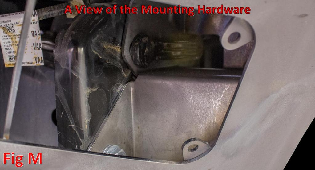 (Fig L) Hold the bumper to the truck by using the OEM Hardware for the top two bolts (Per Mount)