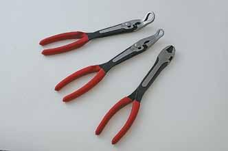 "plier 3 Piece 11"" Hose Gripper Pliers Set > Extra long for access into limited clearance areas > Soft comfort grip handles > Heat treated forged alloy steel for strength and"