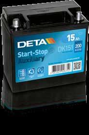 Start - Stop Type List AGM EFB Auxiliary Deta Performances Dimensions Technical Characteristics Code Capacity Ah CCA A (EN) Container L (mm) W (mm) H (mm) Polarity Terminals Hold down DK508 50 800