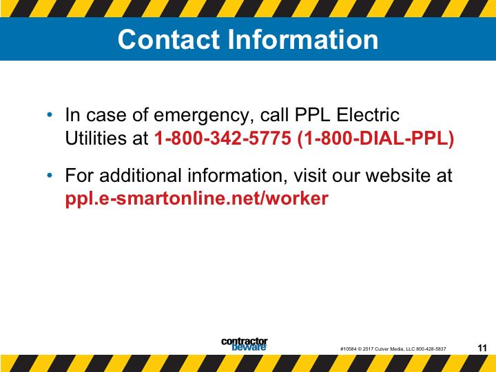 Presenter's Notes In case of emergency call PPL Electric Utilities at 1-800-342-5775
