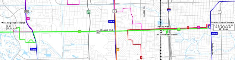 Broward Boulevard Corridor Transit Study TRAFFIC AND TRANSIT CONDITIONS Broward Boulevard currently consists of six general use travel lanes, with a landscaped median.