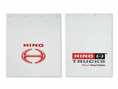 "Mud Flaps Mud Flaps 24"" x 30"", 24"" x 36"" White with the choice of Hino Trucks or Flying H logo All COE & Conventional 200243000 24"" x"