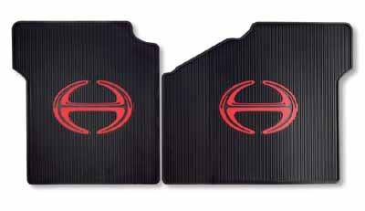 Floor Mats Floor Mats Black durable rubber floor mats with the red Hino emblem.