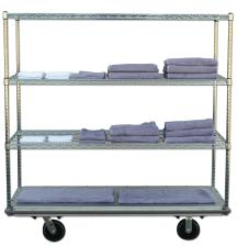 Superior Built - Solid Base - Wire Shelving Cart HUSKY 100-R Linen Transport or Supply Cart Efficient Durable Economical TOP SHELF: Supports Cart Cover
