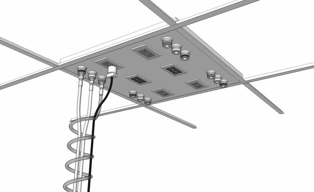 Alpha System Ceiling Panel Features: Designed to integrate into common ceiling grids providing a low cost method of delivering plumbings, electrial, and data services to the lab bench Fits in