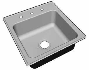 Stainless Steel Drop-in Sinks Seamless die-drawn from nickel bearing type 304, 18-8, 18 gauge stainless steel. Allows easy cleaning and stain resistance.