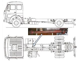 The other shaft is telescopic and it is connected to the first Cardan shaft on the one side and to the differential transmission on the other side.