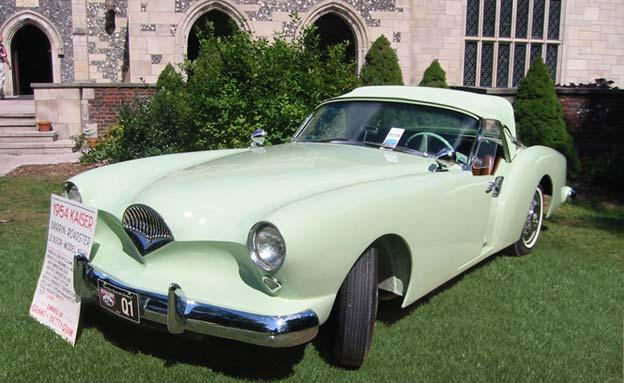 The 1954 Kaiser Darrin was noted for its pastel colors and distinctive sliding doors that disappeared into the front fenders. Henry J.