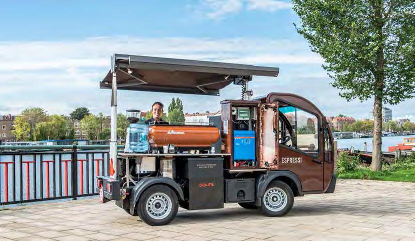 Blue power charger IP65 Coffee cart Dutch-based company Espressi, which rents out various types of mobile espresso machines, has developed a coffee cart that is powered exclusively by electricity.