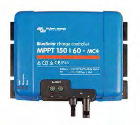 BlueSolar charge controller (MPPT), an inverter/charger and AC distribution in one enclosure.