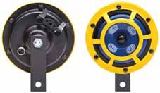 Horns Disc-type-horns M 26 Black finish metal body and diaphragm, protective grille yellow. Sound pressure level 2 m away: 5 db(a). Power consumption: 84W. Bracket on horn for M8 fixing screw. With 6.