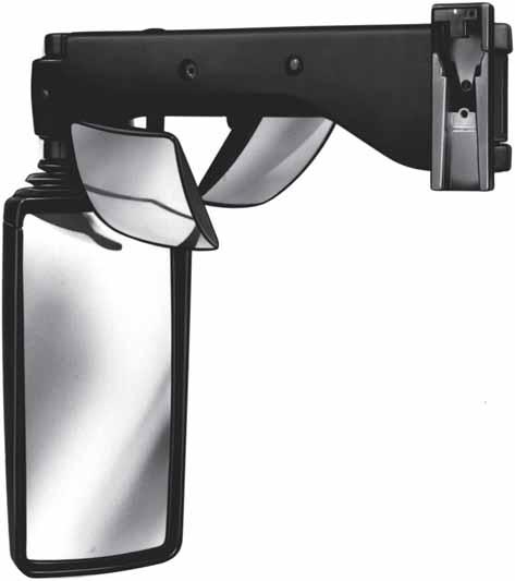 Bus mirrors E.g. for MAN, Neoplan and Scania Black plastic mirror head and arm. Driving mirror electrically adjustable. Front end observation mirror and door observation mirror manually adjustable.