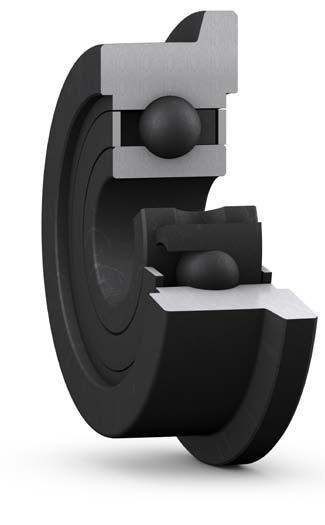 These bearings incorporate graphite-based lubrication that continuously lubricates the bearing.