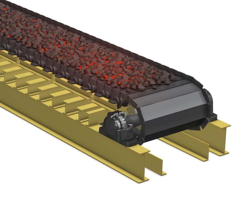Steel plate conveyor for hot material A metal industry customer was using a steel plate conveyor system to transport hot material between processes.