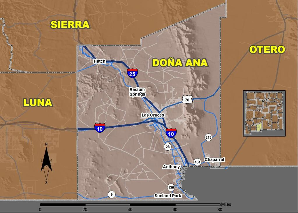 25 Doña Ana County Produced for the New Mexico Department of Transportation, Traffic Safety Division, Traffic Records Bureau, Under Contract 58 by the University of New Mexico, Geospatial and