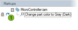 In Autodesk Design Review, open MicroController_Markup.dwfx. Review the Markups palette. The comment created by a member of the design team is listed.