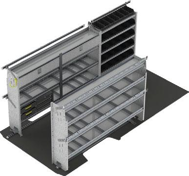 Graphite 20 6231 Large Bin, Graphite 1 6416 Shelving install kit, driver side 1 6417 Shelving install kit, passenger side 2 F70-X Square Back Shelving Unit with Dividers 1 L42-X Square Back Shelving