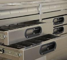 DRAWERS Durable storage compartments, designed for quick and easy access. ACESS TRAYS P. 40 TOUGH Proline drawers are backed by a 10 year warranty. COMPACT DRAWERS P. 44 PARTSKEEPERS P.