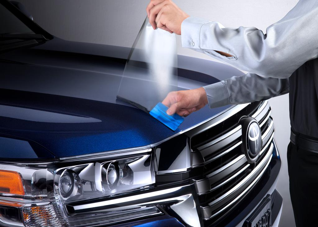 EXTERIOR 1 /4 Paint Protection Film Like a clear suit of armor, Genuine Toyota paint protection film helps guard your