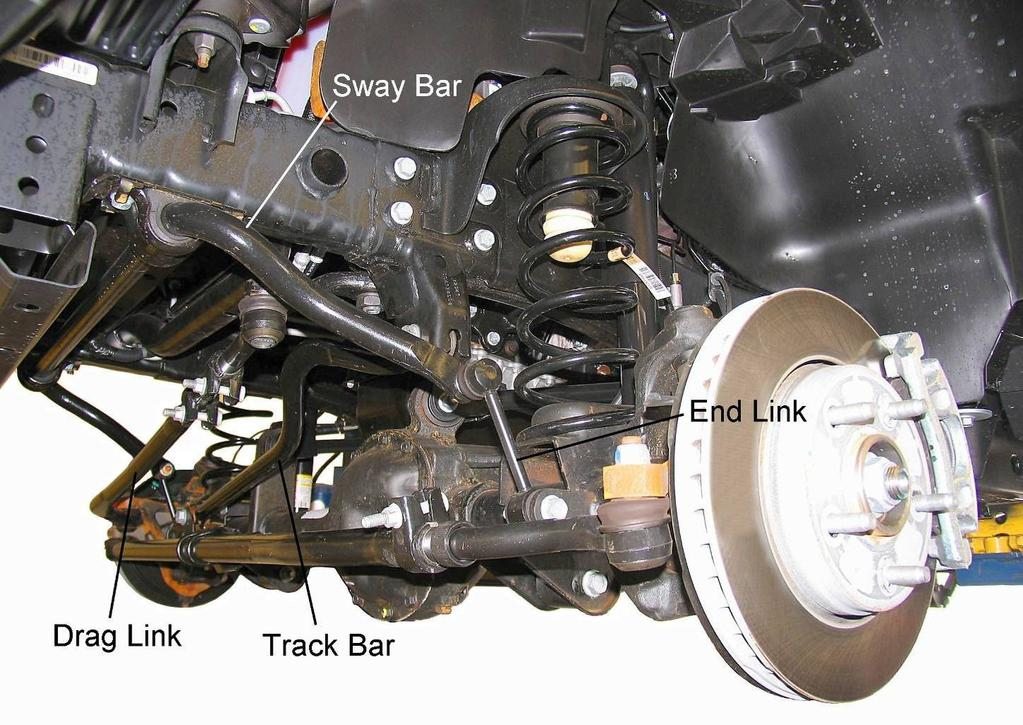Front Suspension FRONT SUSPENSION SHOCK ABSORBER & COIL SPRING REMOVAL 1) Park vehicle on a level surface. Set the parking brake and chock rear wheels.
