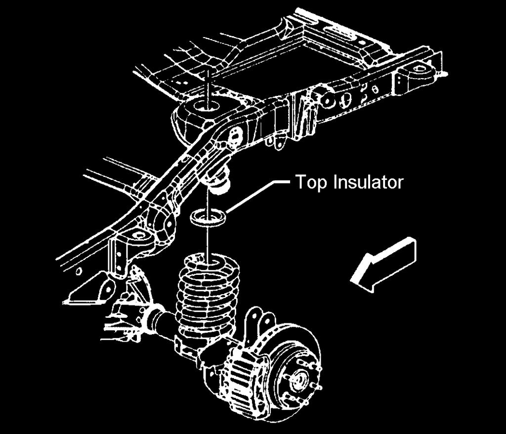 11) Carefully lower the rear axle. Do not allow the axle to hang by any hoses or cables. Remove the coil springs and insulators. See illustration 19. Illus.