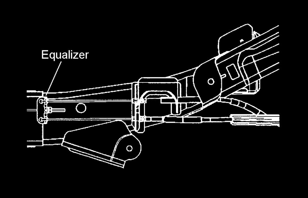 6) Loosen the bolt attaching the lower link to the axle bracket. Allow the lower link to hang downward. Illus. 20 2) Disconnect the brake cables from the equalizer. See illustration 21.