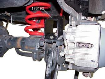 8) Remove the spacer and drill a 3/8 hole at the marked location. 9) Attach bump stop spacer 176193 to the axle bracket with the 3/8 hardware from kit 860416.