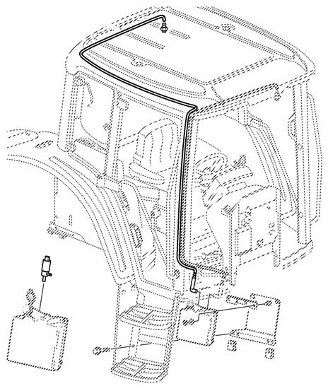 Issue 02-2006 ( RI, RII) ATTACHMENTS - FACTORY AND FIELD INSTALLED 6020 Series Tractors-39 Rear windshield washer Performance monitor The reservoir for the rear windshield washer is installed under