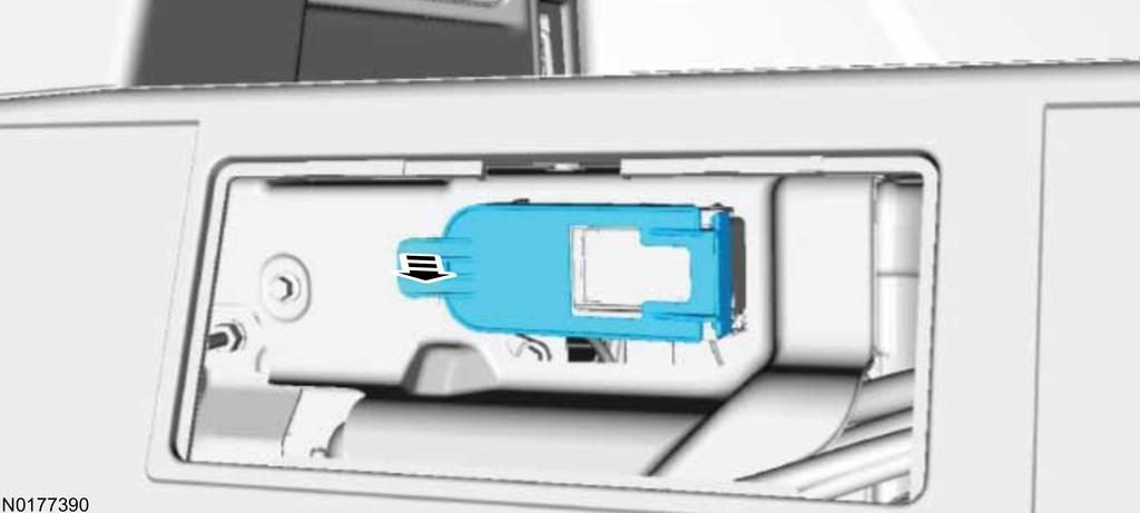 Pull the lever position assurance (LPA) tab toward the front of vehicle to remove. b.