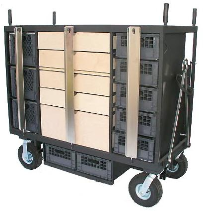 00 9 sliding milk crate compartments Top pan (L42 x W18 ) holds 3 milk crates Wheels 2-10 rigid & 2-10 swivel or optional (rear) 4-10 rigid & 2-10