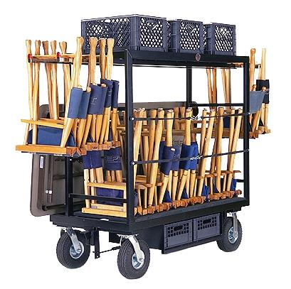 P-07 Holds (18) director s chairs Telescopic chair holders (4) Top pan area (L45 3/4 x W20 x H2 ) Inside area (L47 3/4 x W22 x H38 ) Rear table storage area (L56 x W6 ) Jockey Box holds (2)
