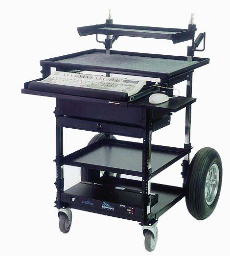 5/8 pins accommodates Monitor Trays (2) 19 Rack Mounts (Lenght 24 3/4 ) Top Shelf (D22 x W22 ) Adjustable Middle Shelf (D19.5 x W20 ) Bottom Shelf (D19.