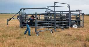 Entire system can be driven completely through with dually pickup, with round bale.