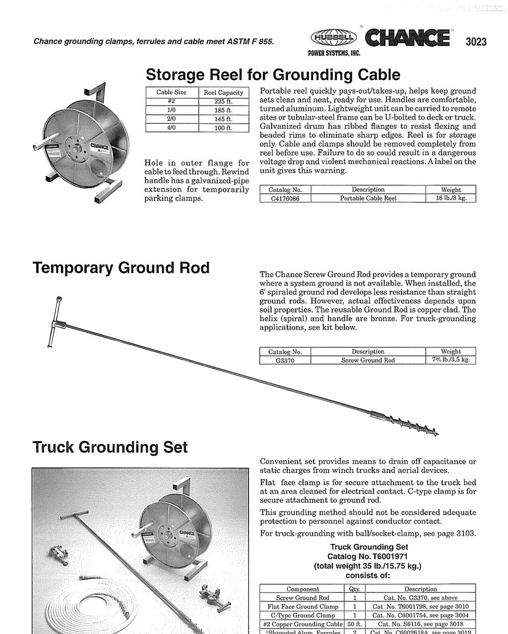 Chance grounding clamps, ferrules and cable meet ASTM F 855, 3023 POWER SYSTEMS, IHC.