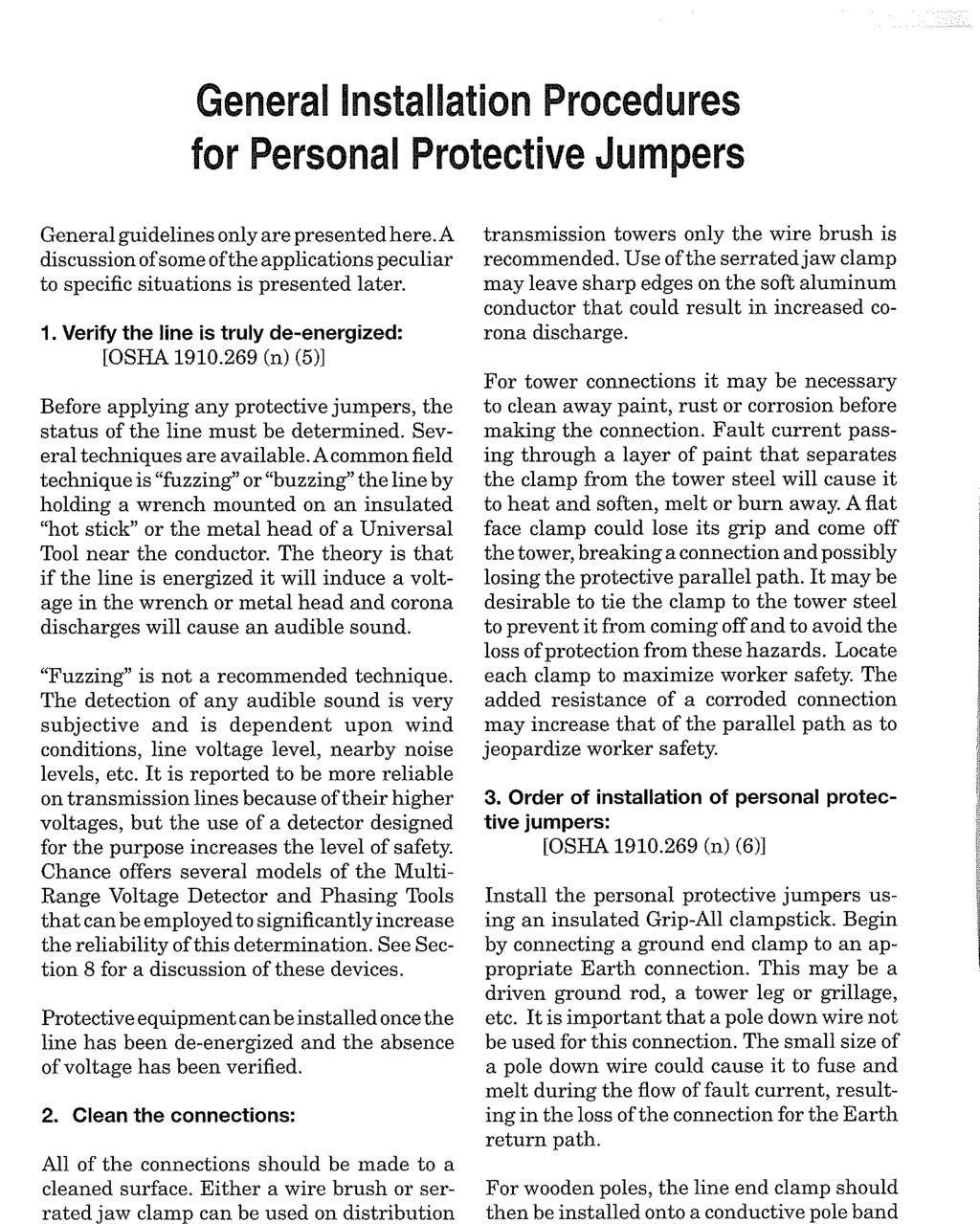General Installation Procedures for Personal Protective Jumpers General guidelines only are presented here.a discussion of some of the applications peculiar to specific situations is presented later.