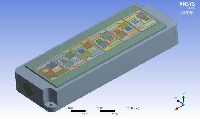 Fig. 11: PrimePACK 3 module mounted on direct liquid cooling system simulated in ANSYS Icepak. Fig.