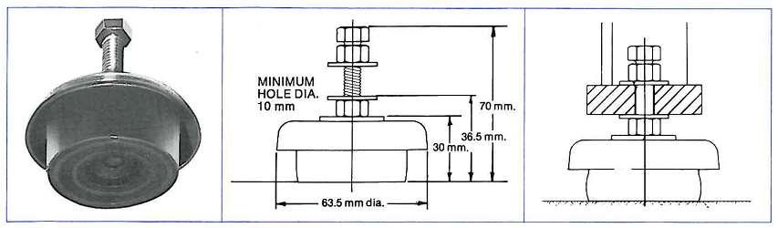 Figure 6: SLM500 SLM1000 Figure 7: SLM100 Maximum Rated Loads (kg) Dimensions (mm) Part # General Machinery Impact Machinery D H B SLM100 55 40 Refer Diagram SLM500 500 375