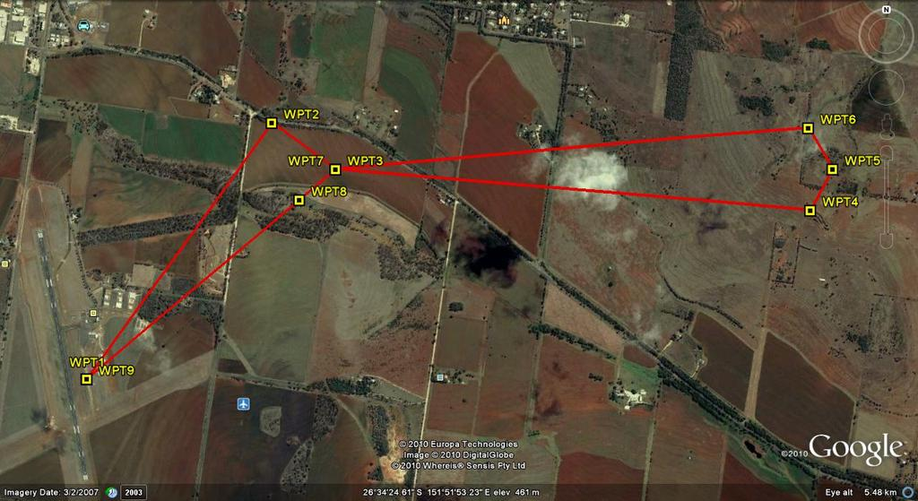 21 Fig. 13. Mission Scenario 1 with GPS Waypoints in central QLD, Australia (image generated using Google Earth).