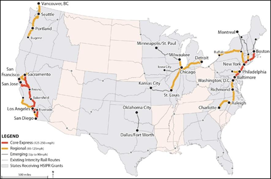 Figure 1: High-speed and Intercity Passenger Rail National Investment Overview (U.S.