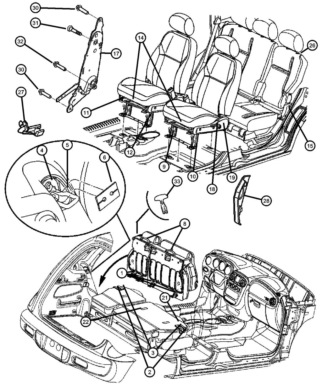 Recliners and Adjusters Figure IPT-810 1 *DL Front Seat Tracks, Right & Left 26 BEZEL, Seat Release 05019978AA 1 *R7 1 *R7 Export 1 *GL Export 1 *GL 1 *DL 27 CLIP, Cable 05080999AA 1 *R7 1 *GL 1 *DL