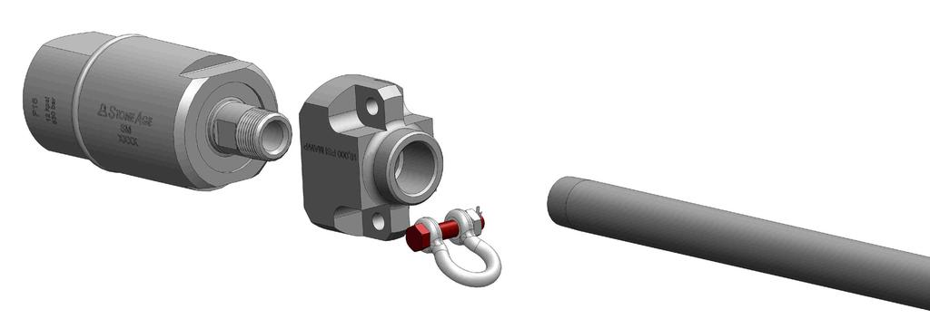 OPTIONAL SWIVEL AND LANCE- ASSEMBLY. Remove the Cotter Pin and bolt from the Shackle. Line up the Shackle with the Coupling and install the bolt through both the Shackle and the Coupling.