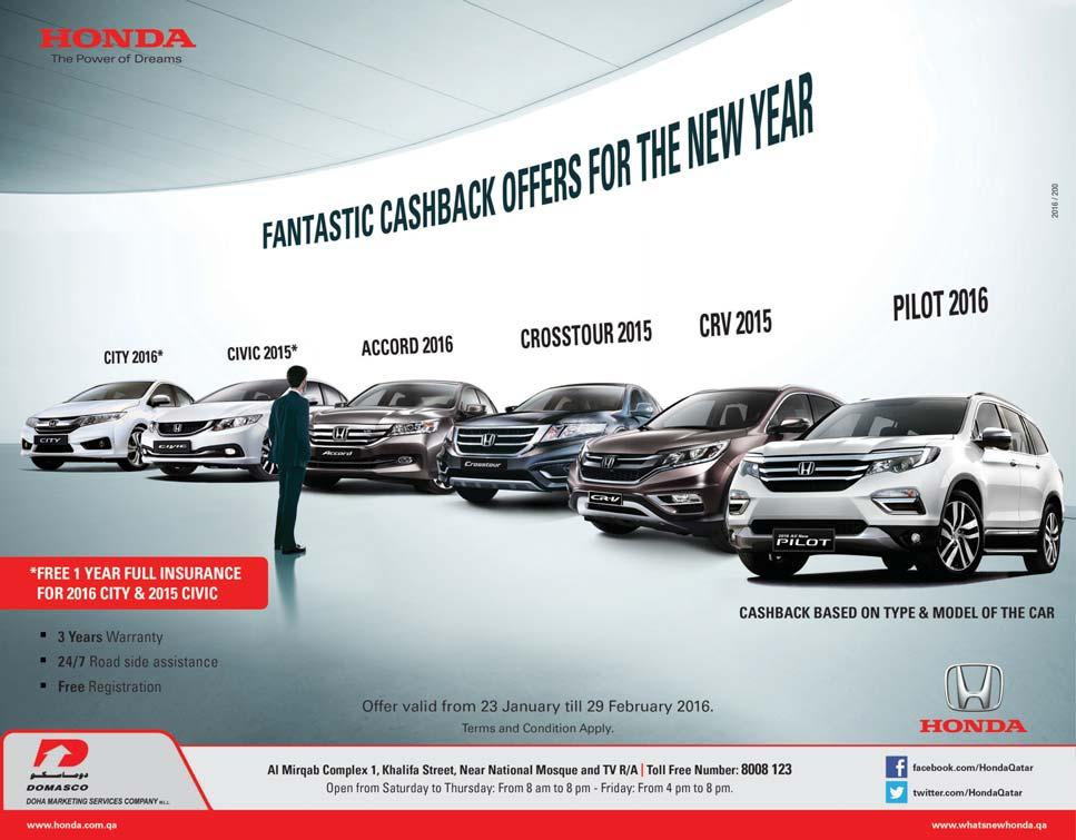 Honda ends successful 2015 and kicks off 2016 with fantastic deals D espite a very challenging environment, the Honda Brand in Qatar ended the year on a positive note with very satisfactory results