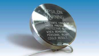 EPSILON COUPLING SYSTEM Stainless Steel/Hastelloy Pressure Cap Used to increase the level of safety when coupling is closed, disconnected and under operating pressure.