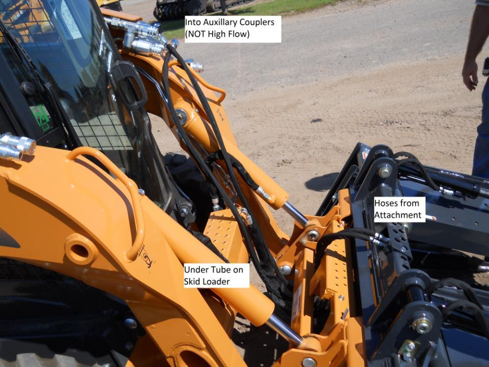 Grapple shown Center Plumb works for Case, John Deere, New Holland, Mustang, Takeuchi, and Gehl skid loaders. Hoses need to be secured so they do not get damaged during operation.