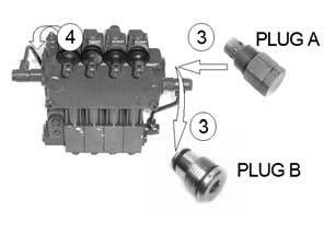 tractors auxiliary valve. 2. Plug B (part no CVA06001) This setting is used for closed centre hydraulic systems.
