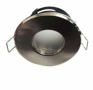 DOWNLIGHTS FITTINGS SEALED BATHROOM DOWNLIGHT Die cast aluminium fitting Satin chrome or gloss white finish Suitable for MR16 halogen or LED globes Frosted glass face Moisture sealed for use in