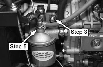 CLEAN THE FUEL FILTER The fuel filter helps prevent dirt in the fuel from entering the engine. Clean the fuel filter every 500 hours, or sooner if necessary. 1. Open the front door panel. 2.