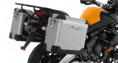 Frame protection Kawasaki Versys 677 ZEGA Pro Pannier System Kawasaki Versys 650 with Stainless Steel Rack The aluminium pannier system again has a very robust construction.