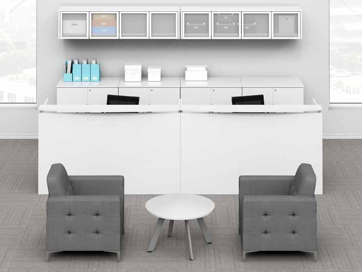 classic laminate series white reception & storage solutions: For a bold modern look.